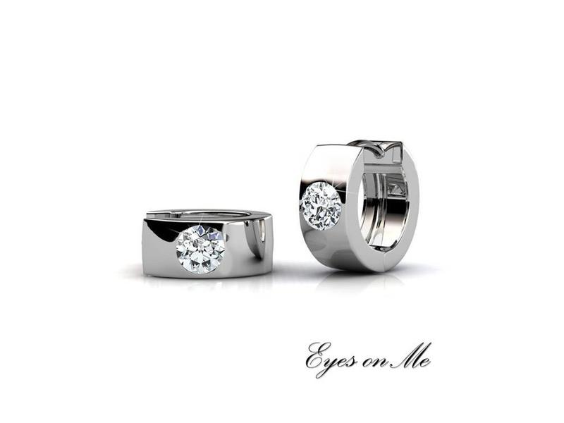 """Eyes on Me"" met  witgoud vergulde oorringen met SWAROVSKI elements  (model E0040-WG)"