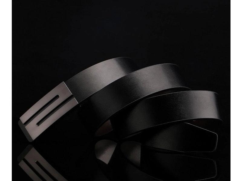 OMKEERBARE LEDEREN RIEM met gaatjes ( model 129)