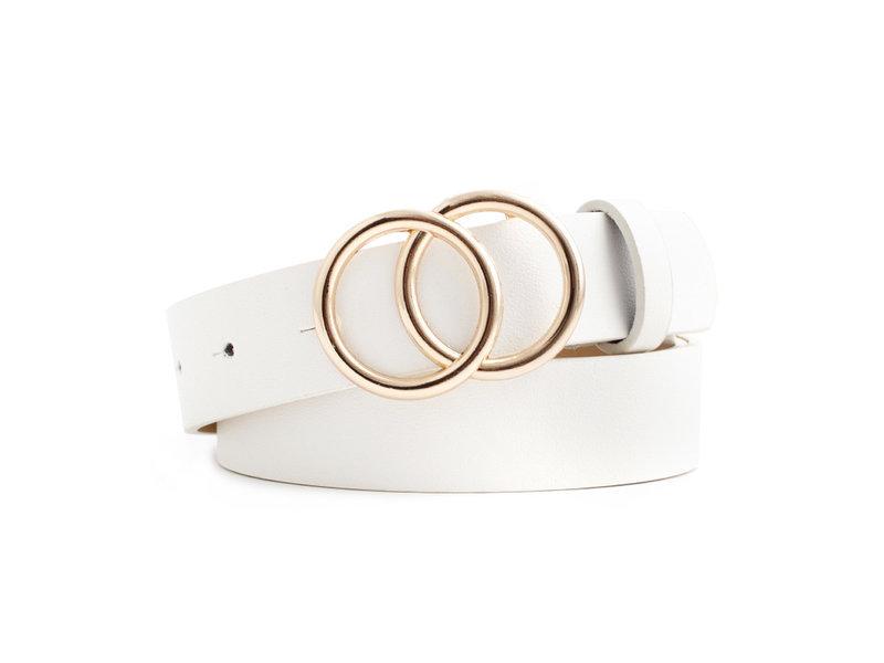 Riem in  PU leder en 2 ringen gesp voor dames ( Model B0003 )
