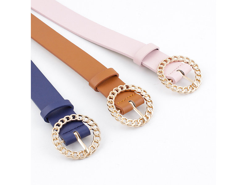 Riem in  PU leder en cirkelvormige goudkleurige gesp voor dames (Model B0015)