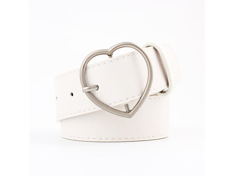 Riem in  nubuck leder en hartvorm gesp voor dames ( Model B0018 )