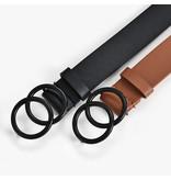 Riem in  PU leder en 2 ringen gesp in zwarte kleur voor dames ( Model B0005 )