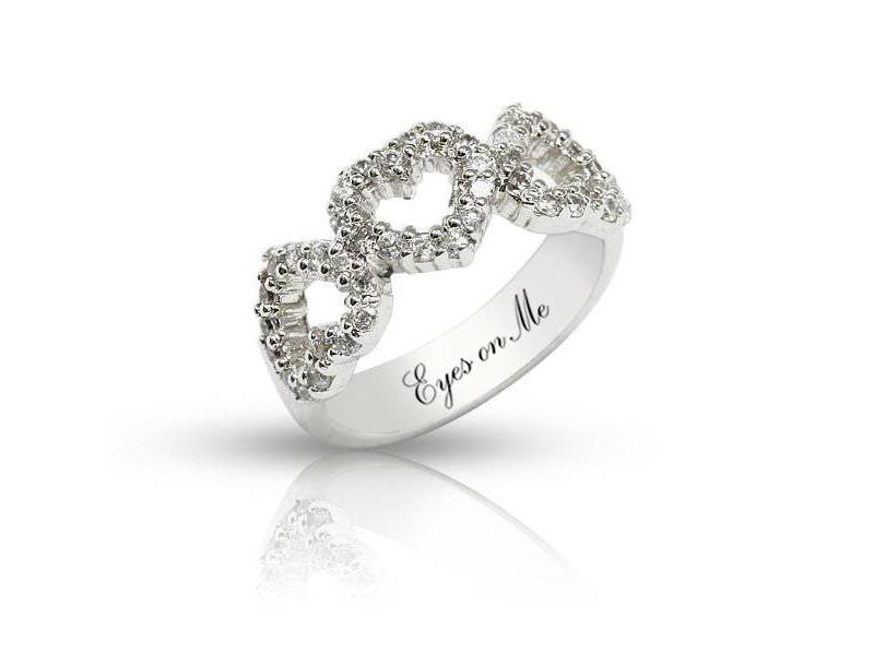 """Eyes on Me"" 925 zilveren 3 HARTEN RING met zirconia"