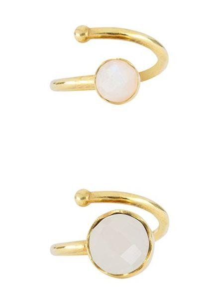 Marissa Eykenloof Set gold ring Rainbow Moonstone