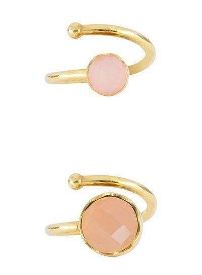 Marissa Eykenloof Mother & Daughter set gold ring Rose Quartz