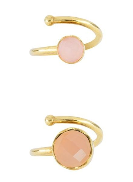 Marissa Eykenloof Set gold ring Rose Quartz