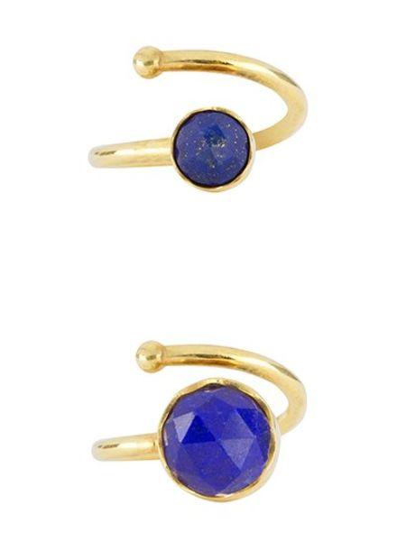Marissa Eykenloof Set gouden ringen Lapis Lazuli