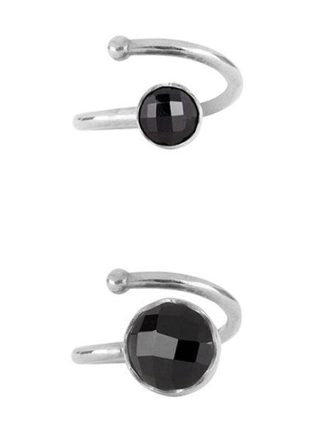 Marissa Eykenloof Set zilveren ringen zwarte Onyx