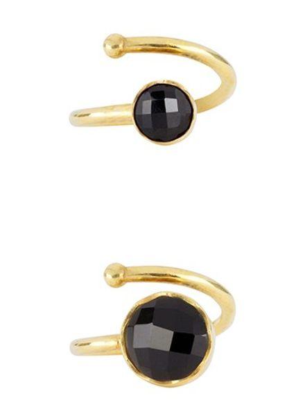 Marissa Eykenloof Set gouden ringen zwarte Onyx