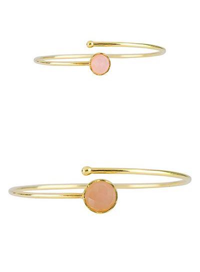 Marissa Eykenloof Mother & Daughter set gold bracelet Rose Quartz