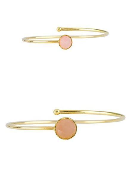 Marissa Eykenloof Set gouden armbanden met Rozenkwarts
