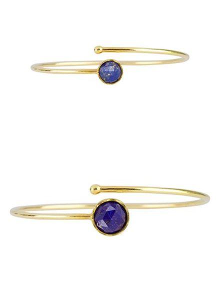 Marissa Eykenloof Set gouden armbanden Lapis Lazuli