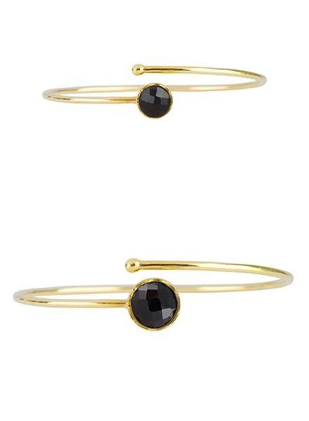 Marissa Eykenloof Set gouden armbanden met zwarte Onyx