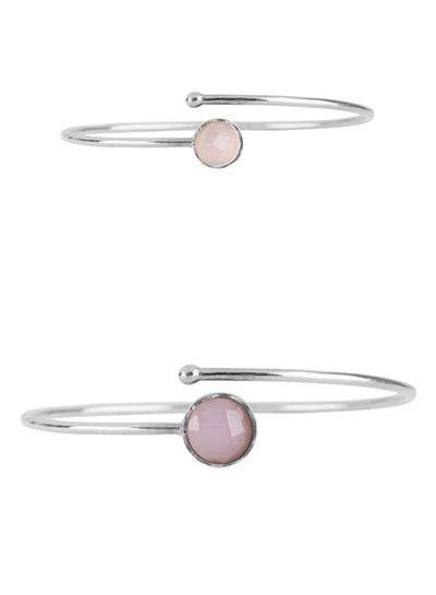 Marissa Eykenloof Mother & Daughter set silver bracelet Rose Quartz
