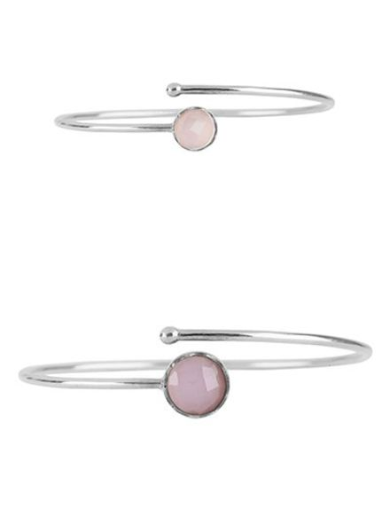 Marissa Eykenloof Mother & Daughter set silver bracelet Rose Quartz