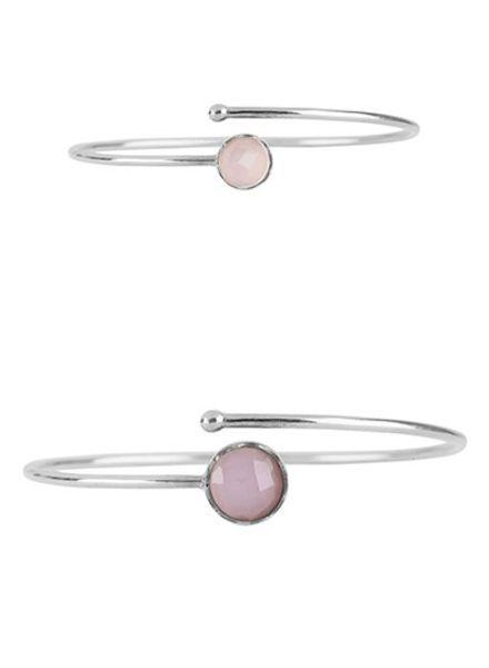 Marissa Eykenloof Set zilveren armbanden met Rozenkwarts