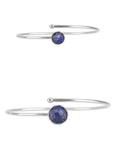 Marissa Eykenloof Set zilveren armbanden met Lapis Lazuli
