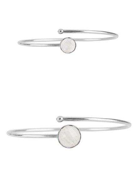 Marissa Eykenloof Mother & Daughter set  silver bracelet Rainbow Moonstone