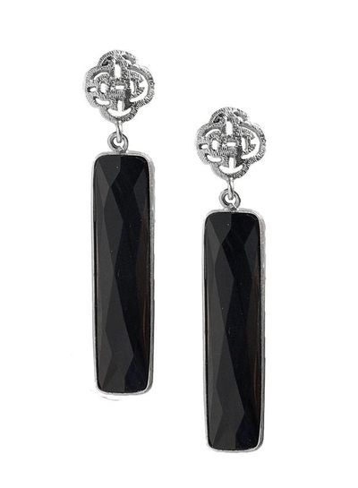 Marissa Eykenloof Silver Logo stud earring with black Onyx