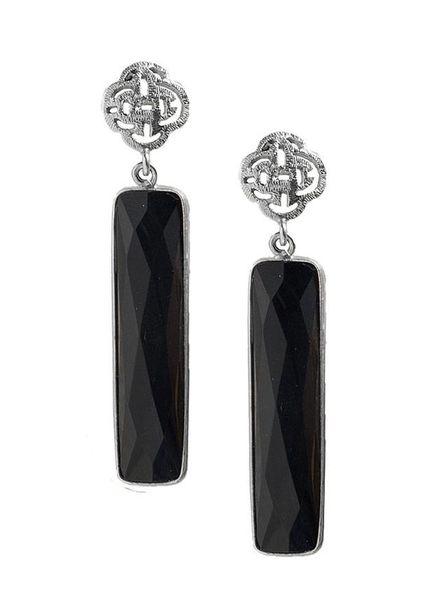 Marissa Eykenloof Zilveren logo oorbel met zwarte Onyx