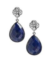 Marissa Eykenloof Silver logo stud earring with lapis lazuli