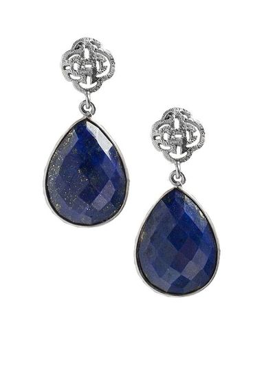 Marissa Eykenloof Silver logo stud earring with lazpi lazuli