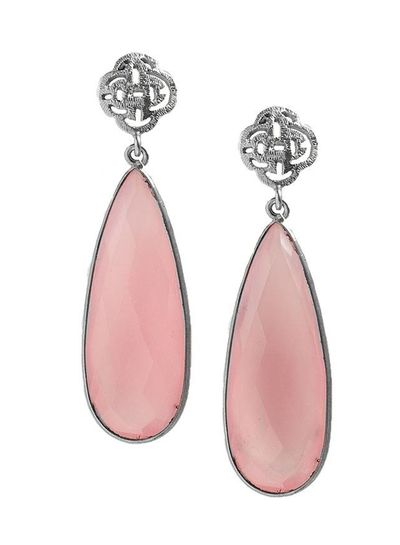 Marissa Eykenloof Silver Logo stud earring with Rose Quartz