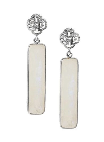 Marissa Eykenloof Silver logo stud earring with Moonstone