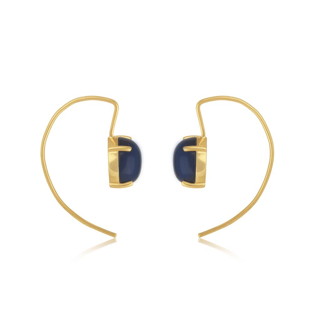 Marissa Eykenloof Geometric Earring With Blue Stone