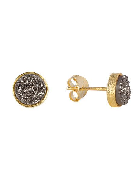 Marissa Eykenloof Gouden knopjes met zwarte druzy
