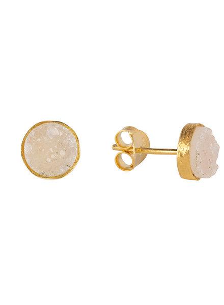 Marissa Eykenloof Gouden knopjes met witte druzy
