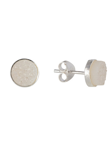 Marissa Eykenloof Silver stud with white druzy