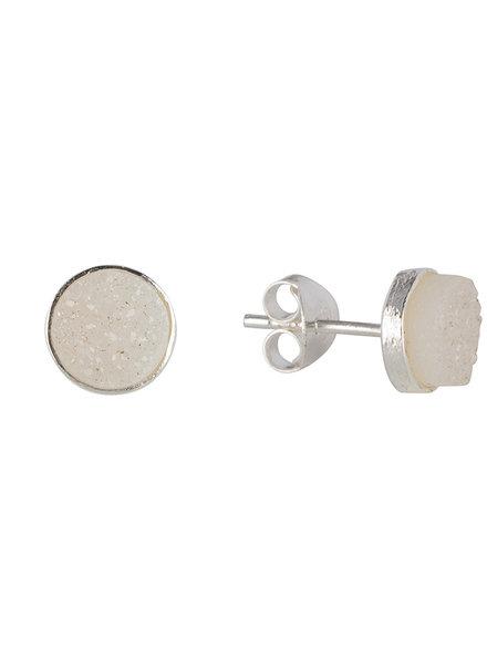 Marissa Eykenloof Zilveren knopjes met witte druzy
