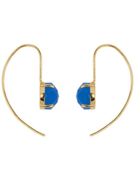 Marissa Eykenloof Sara Gouden oorbel met Blauwe Aventurijn blauwe quartz