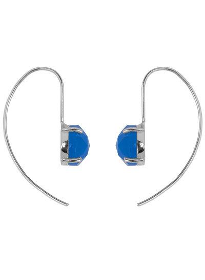 Marissa Eykenloof Sara Zilveren oorbel met blauwe chalcedony
