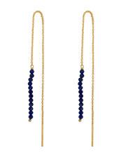 Marissa Eykenloof Gouden Eva oorbel Lapis lazuli kraaltjes