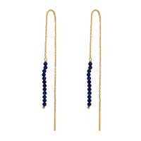 Gold earring Lapis lazuli beads