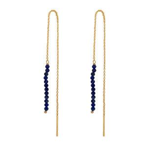 Marissa Eykenloof Gouden oorbel Lapis lazuli kralen