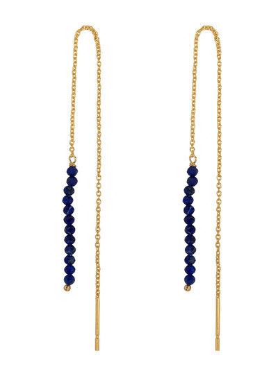 Marissa Eykenloof Gouden Eva oorbel Lapis lazuli kralen