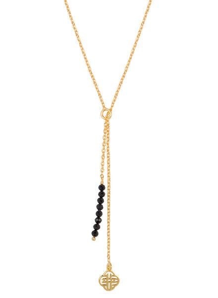 Marissa Eykenloof Gold Eva necklace logo black onyx beads