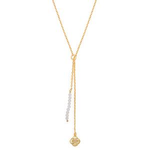 Marissa Eykenloof Gouden ketting met maansteen kralen