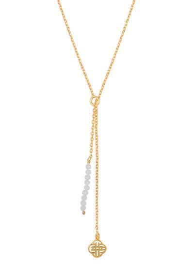 Marissa Eykenloof Gold Eva necklace logo moonstone beads