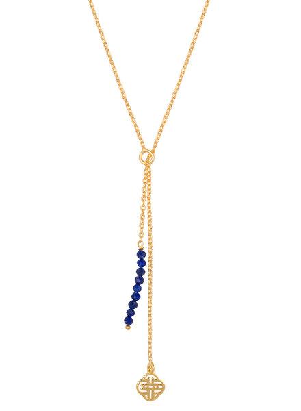 Marissa Eykenloof Gold Eva necklace logo Lapis lazuli beads