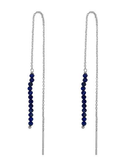 Marissa Eykenloof Zilveren Eva oorbel Lapis lazuli kralen
