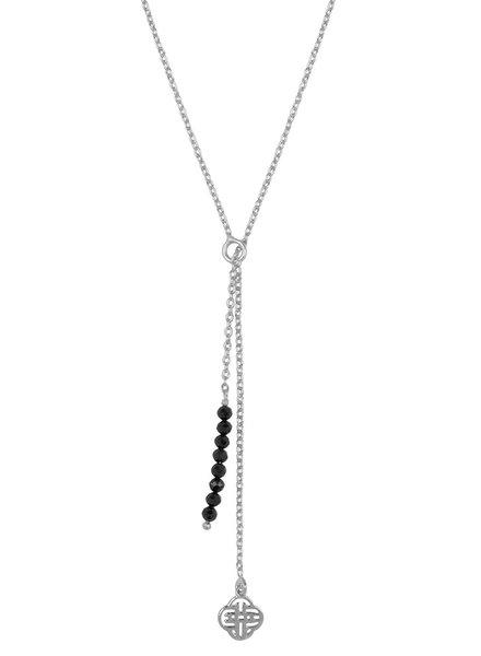 Marissa Eykenloof Silver Eva necklace logo black onyx beads