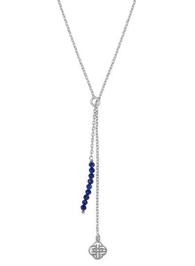 Marissa Eykenloof Silver Eva necklace logo Lapis lazuli beads