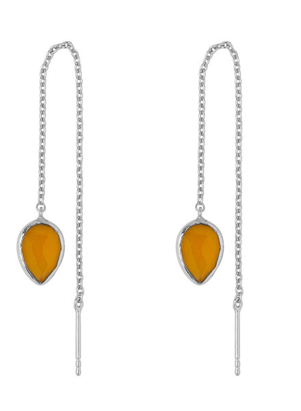 Marissa Eykenloof Silver earring with Yellow chalcedony