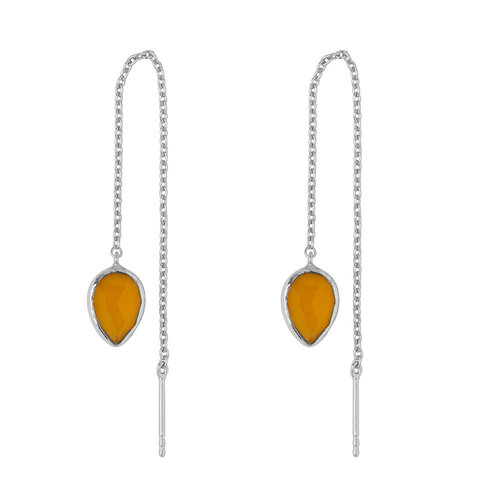 Marissa Eykenloof Silver earring with Yellow chalcedony