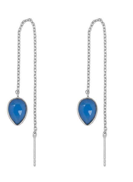 Marissa Eykenloof Zilveren oorbel met blauwe chalcedony