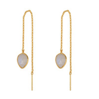 Gold earring with Moonstone